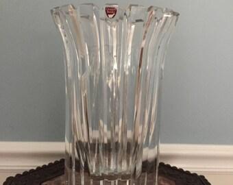 """ORREFORS Hand Cut Crystal STENHAMMAR VASE by Gunnar Cyren 9 1/2"""" X 6 1/2"""""""