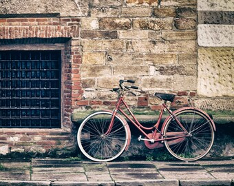 Italy photography Red bicycle leaning against brick wall, Classic Tuscany, Italian Vintage home decor, Stone, Wall Decor- Wheels in Tuscany