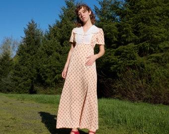 Orange and White patterned vintage dress