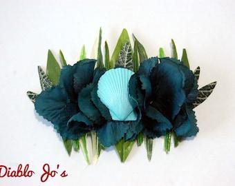 Nautical Beach Shell Orchid hair flower, Tiki, Rockabilly style, Teal Blue