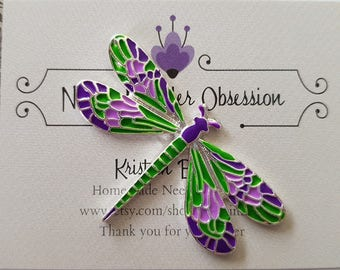 Purple and Green Dragonfly Needle Minder