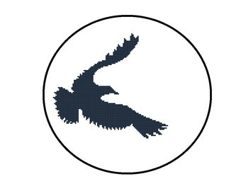 Counted Cross Stitch Pattern PDF - Flying Bird Silhouette - Instant Download