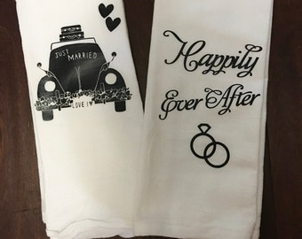 Wedding Kitchen Towels/Just Married/Happily Ever After