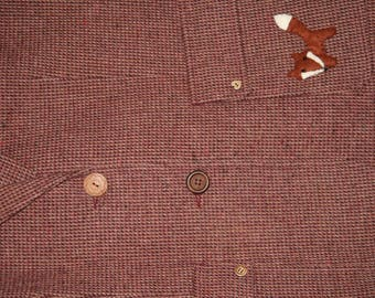 Vintage red tweed jacket. Hand embellished