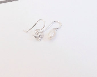 Silver earrings with bird and Freshwater Pearl