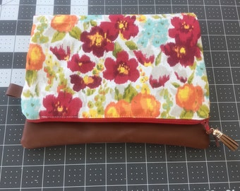 Floral Leather Fold over clutch