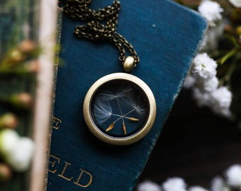 Dandelion wish locket , bridesmaid jewelry, botanical gift for her , floating locket , 18 inch pendant necklace , make a wish, good luck #C4