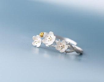 Cherry Blossom Flower Branch Ring
