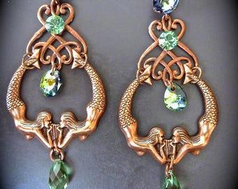 """Art Deco Earrings: """"We're all mermaids..."""""""