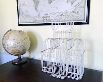 """Antique Large Rustic White Dome Wire Birdcage - Shabby Chic - Bird House - Wedding Cards - Cottage Home Decor - 24"""" High"""