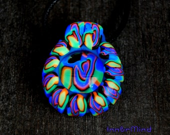 Fluorescent Fluo Clay UV Blacklight Glass Pendant Psychedelic Necklace