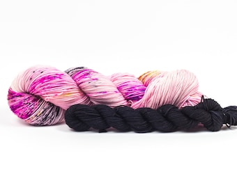 "Mini Mania! Trendy Sock Yarn, with coordinating mini-skein ""Girl Boss""  Handpainted Superwash Merino - 463 Yards"