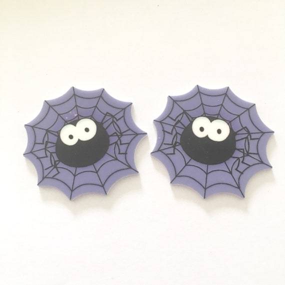 Laser Cut Supplies-2 Piece.45mm Halloween Spider Charms-Laser Cut Acrylic-Jewelry Supplies-Little Laser Lab.Online Laser Cutting Australia