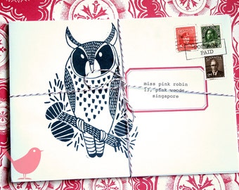 Set of eight owl envelopes- print from a series of owl theme lino-cuts