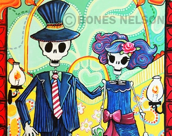 JPG Day of the Dead Art - Skeleton Couple La Catrina El Catrin digital file for Printing up to Poster Sized