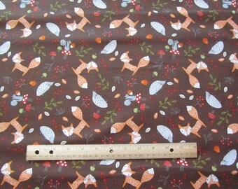 Brown Woodland Animal/Fox/Possum/Squirrel Cotton Fabric by the Yard