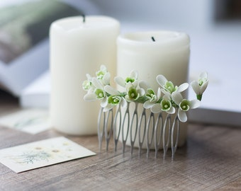 Bridal flower comb - snowdrop hair accessories - bridal hair comb - winter wedding - bridal hair piece - holiday, christmas gift