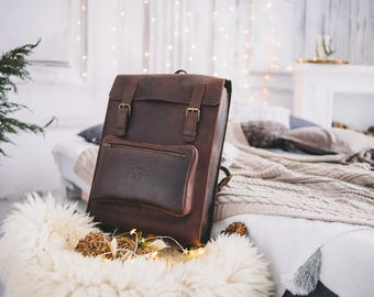 Leather backpack, Travel backpack, Large backpack, Laptop backpack, Mens travel backpack, Men's backpack, Leather Rucksack