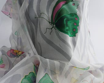 "Silk chiffon shawl hand painted, butterfly, hand-painted silk scarf chiffon scarf, mothers ""Butterfly"""