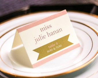 "Blush Pink and Gold Table Seating Decor, Unique Tented Placecard, Pink and Gold Birthday Party - ""Preppy Chic"" Tented Placecard v2 - DEPOSIT"