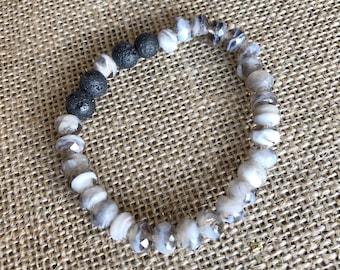 Black Lava Rock Beads - Gray White Glass Beaded Bracelet