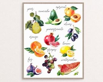 Fruit Print, Watercolor Fruit Poster, Watercolor Kitchen Art, Kitchen Decor, Kitchen Printable, Kitchen Print, Fruit Printable, Fruit Print