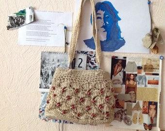 Cream Wicker Purse Woven Straw Bag Small Beige