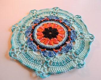 """Mandala"" 100% cotton colorful doily"