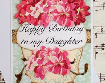 Daughter Birthday Card, 3D Birthday Greeting Card, Blank Card, Daughter in law Card, Daughter Gift, Handmade Card, Floral Card, Gift for Her