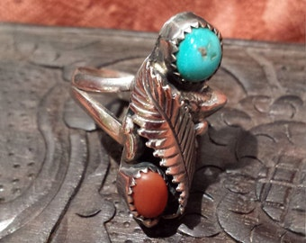 Sterling silver vintage native American turquoise and coral ring