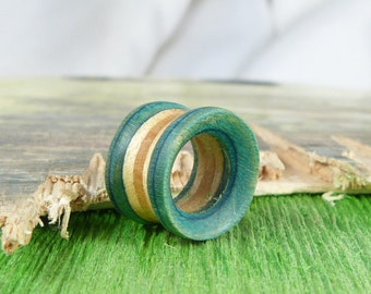 Recycled Skateboards, Pair Of Tunnels, Plugs and Tunnels, Ear Gauge, Wooden Plug, Wood Tunnel, Wooden Plugs, Wood Tunnels, Gauges, Ear Plugs