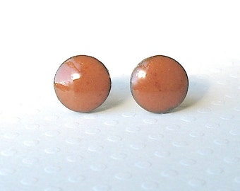 Small Stud Earrings. Round. Rust. Sienna. Clay. Black Porcelain. Burnt Orange. Earth Tone. Ceramic. Post Earrings. Surgical Steel. Simple