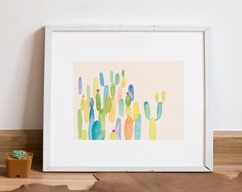 Cactus Art Print | Colorful Wall Art | 8x10 Illustration | Home Decor