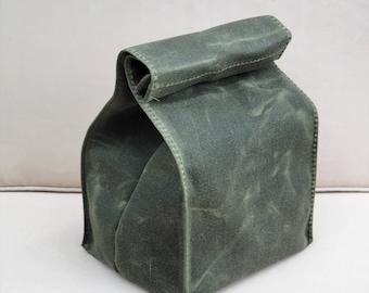 Lunch Bag / Sack / Waxed Canvas / Vegan