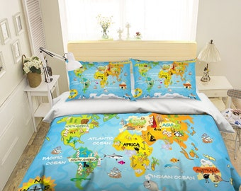 Map bedding etsy 3d animal map bedding bed pillowcases quilt duvet cover set twin single size full size queen size king size jessica gumiabroncs Choice Image