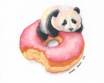 Baby Panda and Strawberry Doughnut - ORIGINAL Painting (Colorfull Wall Art) A5 size