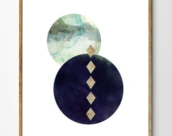 Enigma - Geometric Art, Minimalist Poster, Scandinavian Design, Surreal Art, Mixed Media Painting, Watercolor Painting, Wall Art