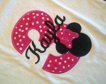 Minnie Mouse Birthday girl shirt - personalized -  short or long sleeve
