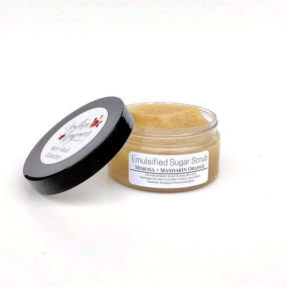 Emuslified Sugar Scrub | Mimosa + Mandarin Orange | Natural Exfoliant | Moisturizer | Essential Oils | Natural Soap