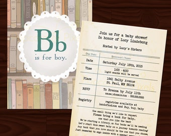 Vintage Library Baby Shower Invite
