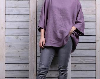 Linen jumper / Comfortable linen top / One size linen blouse / lavender