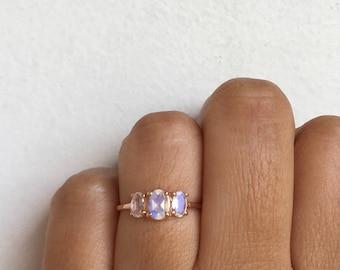 Past Present Future Ring, Moonstone Ring, Moonstone Engagement Ring, Moonstone Wedding Ring, Moonstone, Three Stone Ring, Moonstone Band