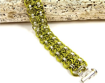 Bright Green Chainmaille Bracelet, Handmade Sterling Silver Jewelry with a Pop of Color