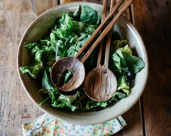 Hand Carved Salad Set