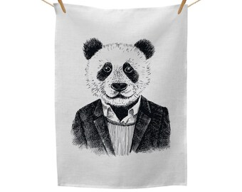 Hipster Panda Illustration Tea Towel