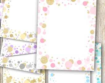 7 Glitter Confetti Borders Metallic Background Paper Various Colors Pink Blue Gold Silver Printable Cardmaking Design INSTANT DOWNLOAD