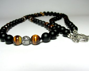 Mens Sterling Silver Onyx Tiger Eye Necklace, Mens Beaded Necklace, Jewellery for Men, Necklace for Men