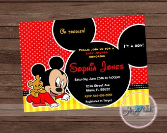 Mickey mouse baby shower invitations boy baby shower mickey mouse baby shower invitation mickey mouse baby shower baby mickey mouse invitation filmwisefo Images