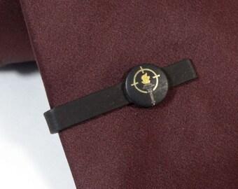 "Black Tie Clip Clasp Bar Vintage 4cm 1.75"" Olympics Torch Painted ?"