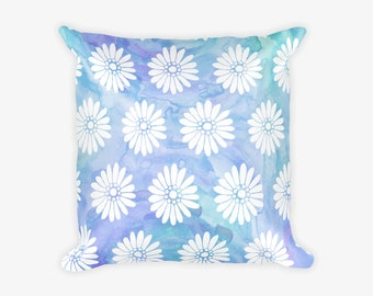 Blue White Flower Pattern Pillow Case